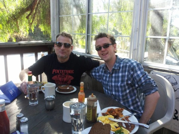 Jamie hanging out with Skype student and friend Joee Corso in California January 2015