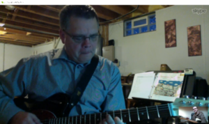Jamie going through the Satin Doll chords with private student David D in Ohio