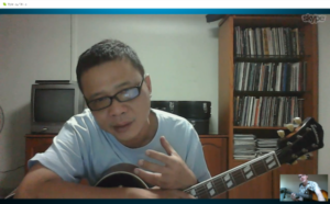 Jamie giving a solo jazz guitar seminar over 7,000 miles away to Sy in Singapore
