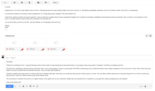 An example of email feedback for assignments that is included in Skype Lessons